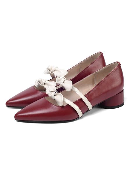 Milanoo Women Mid-Low Heels Vintage Pointed Toe Cylinder Heel Mary Jane Pumps