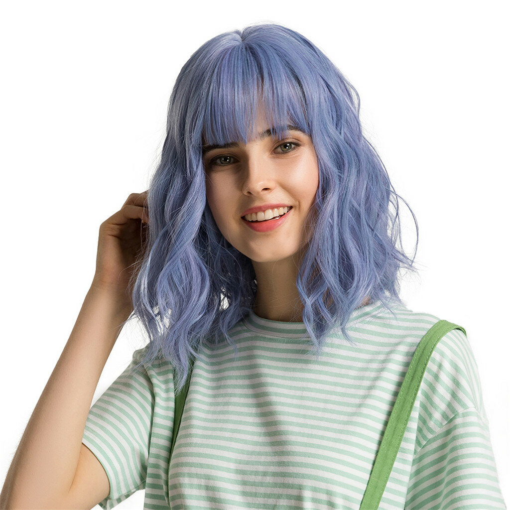 12 inch Short Natural Wave Cute Bob Wig with Bang Synthetic Blue Purple Hair Cosplay Party Wig