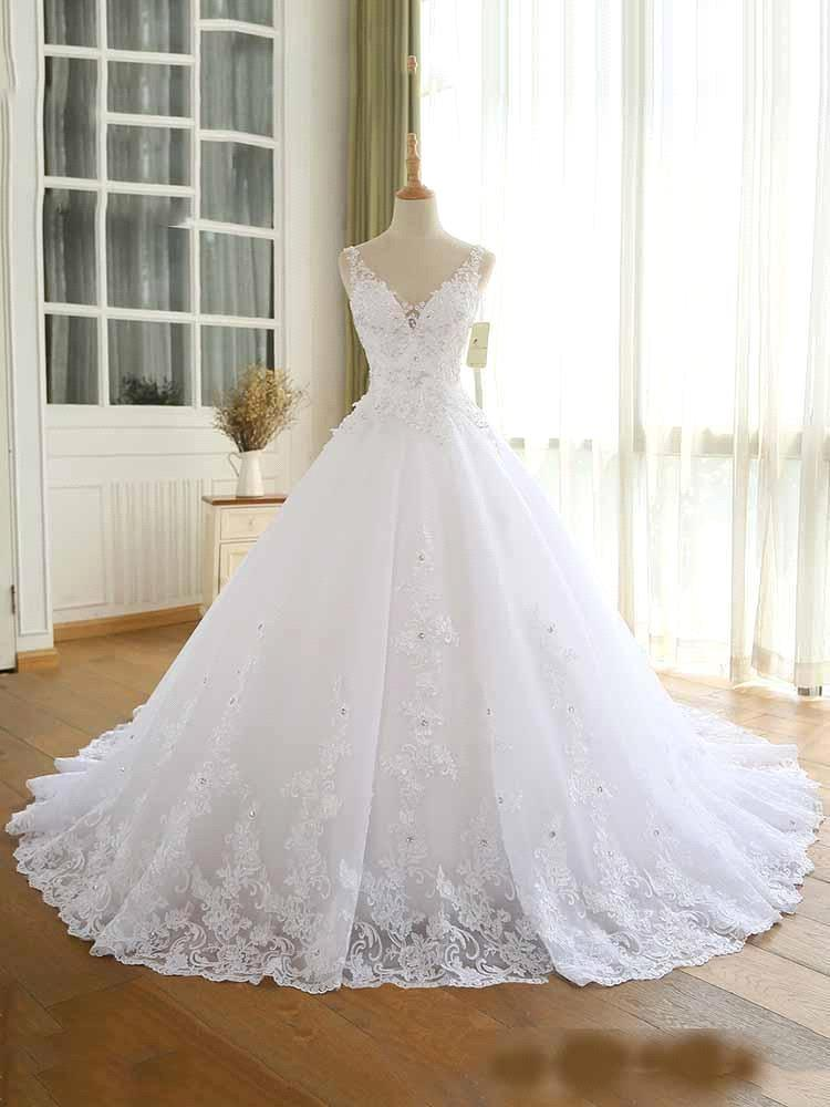 Luxury Lace Beaded Wedding Dresses 2021 V Neck Straps Long Ball Gown Wedding Party Bridal Dress