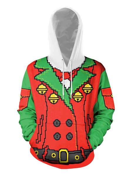 Milanoo Ugly Christmas Sweater Christmas Pattern Unisex Hoodie