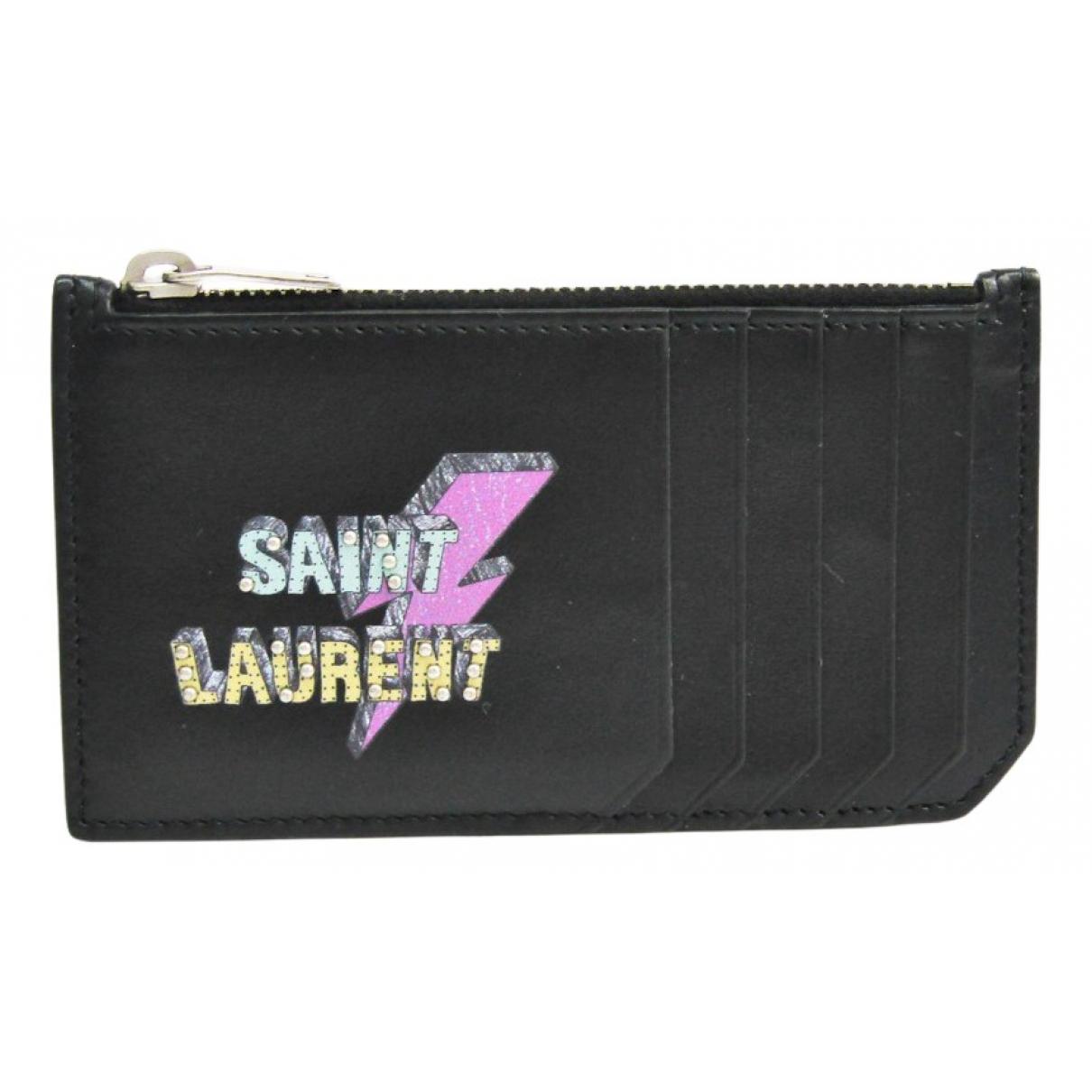 Saint Laurent - Petite maroquinerie   pour femme en cuir - noir