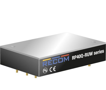 Recom RP40Q 40W Isolated DC-DC Converter Through Hole, Voltage in 16 → 160 V dc, Voltage out 24V dc