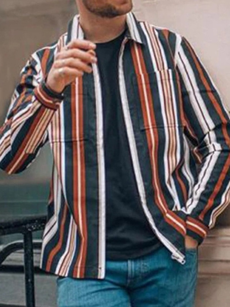 Ericdress Casual Stripe Print Spring Single-Breasted Men's Shirt