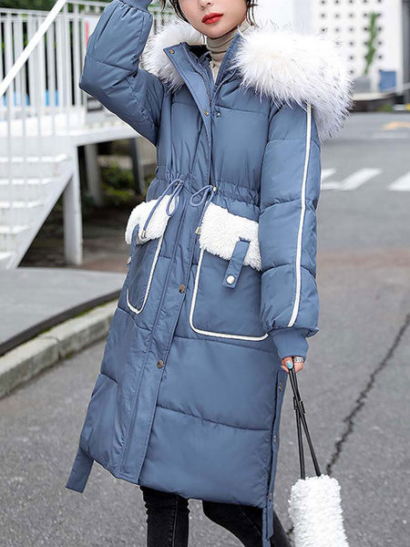 Milanoo Abrigos acolchados para mujer Crudo Blanco Cordon medio Cremallera con capucha Mangas largas Abrigo de invierno informal Prendas de abrigo