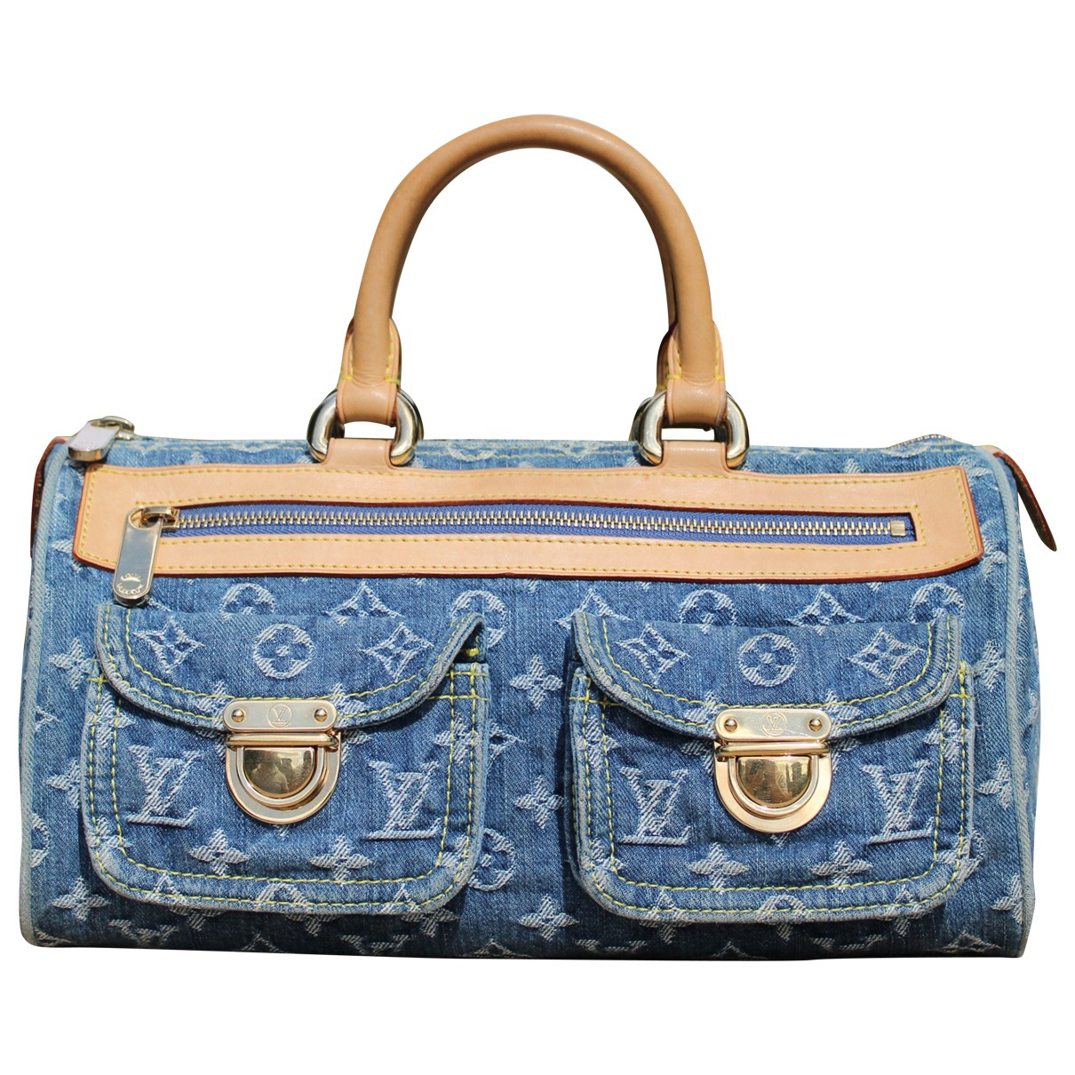 Louis Vuitton - Sac a main Speedy pour femme en toile - bleu