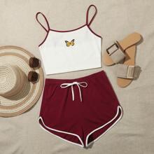 Cami Top mit Schmetterling Muster und Kontrast Bindung & Delohin Shorts Set
