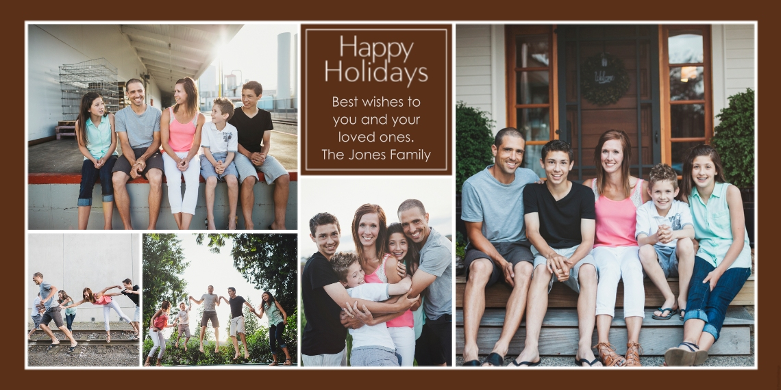 Holiday Photo Cards Flat Matte Photo Paper Cards with Envelopes, 4x8, Card & Stationery -Happy Holidays Collage