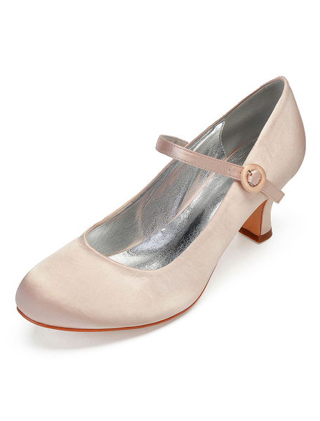 Milanoo Vintage Wedding Shoes Purple Round Toe Mary Jane Shoes Satin Mother Of The Bride Shoes
