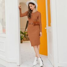 Solid Rib-knit Sweater Dress Without Bag