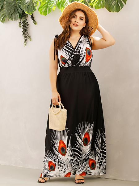 Yoins Plus Size V-neck Print Crossed Front Design Sleeveless Maxi Dress