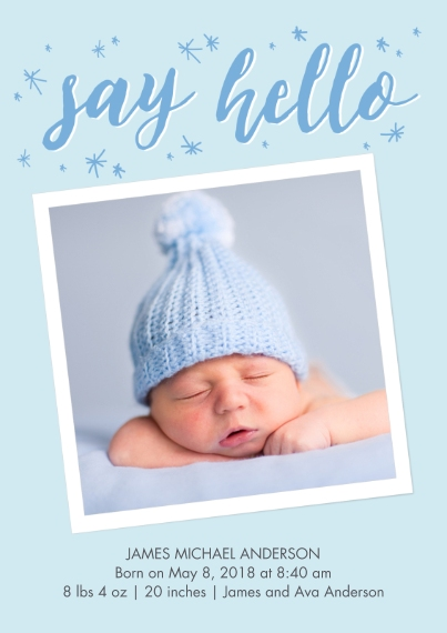Baby Boy Announcements 5x7 Cards, Premium Cardstock 120lb with Elegant Corners, Card & Stationery -Baby Blue Stars