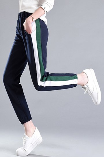 Yoins  Active Stripe Pattern Stitching Strench Waist Sports Pants in Royal Blue