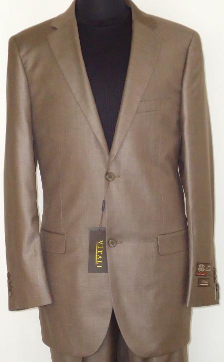 Mens Designer 2Button Shiny Cocoa Brown Sharkskin Suit