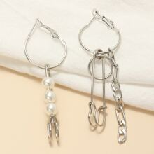 Mismatched Faux Pearl Chain Drop Earrings