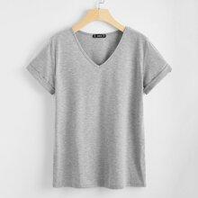 Einfarbiges T-Shirt mit V Kragen und gerollten Ärmeln