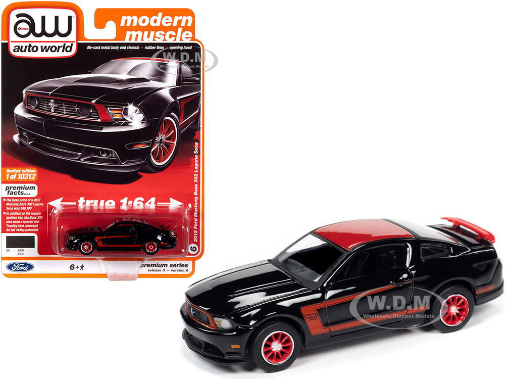2012 Ford Mustang Boss 302 Laguna Seca Black and Red with Red Wheels