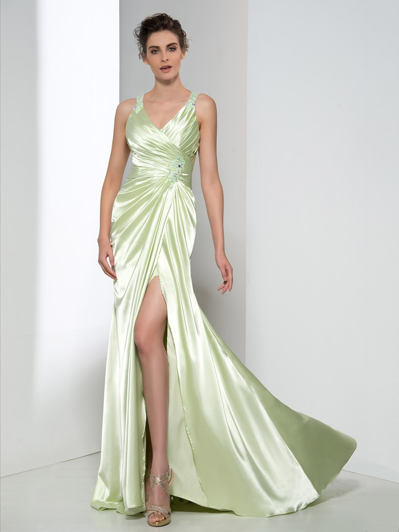 Ericdress Fancy V-Neck Appliques Beading Split-Front Evening Dress