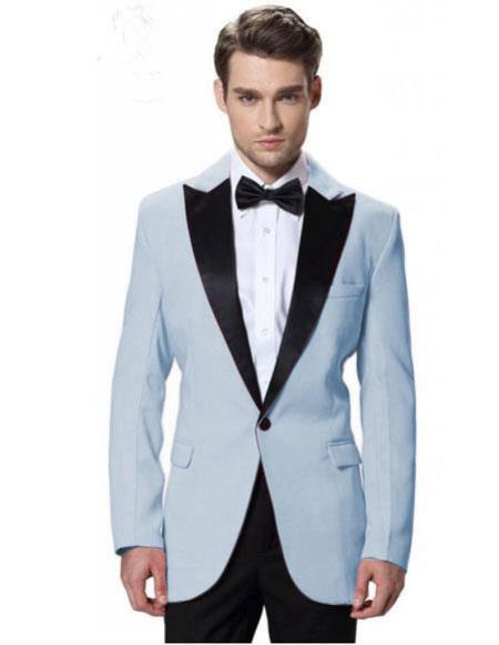 Mens Blue Jacket Black Lapel Tuxedos Pant 1 Button Elegant Slim Suit