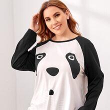 Schlaftop mit Raglanaermeln und Panda Muster