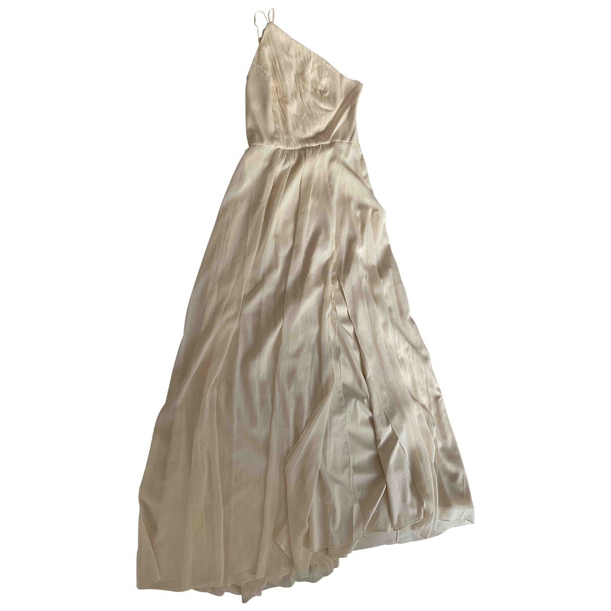 Halston \N Kleid in  Ecru Polyester