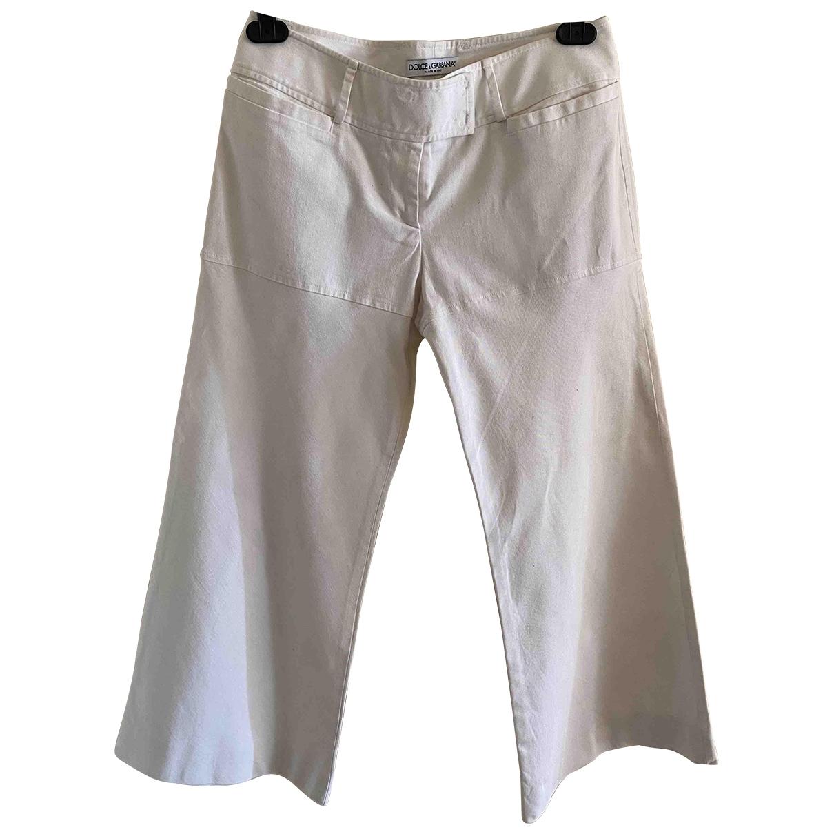 Dolce & Gabbana \N White Cotton Trousers for Women 42 IT