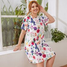 Plus Keyhole Back Floral Print Dress
