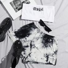 Letter Embroidery Crop Tube Top & Tie Dye Shorts Set