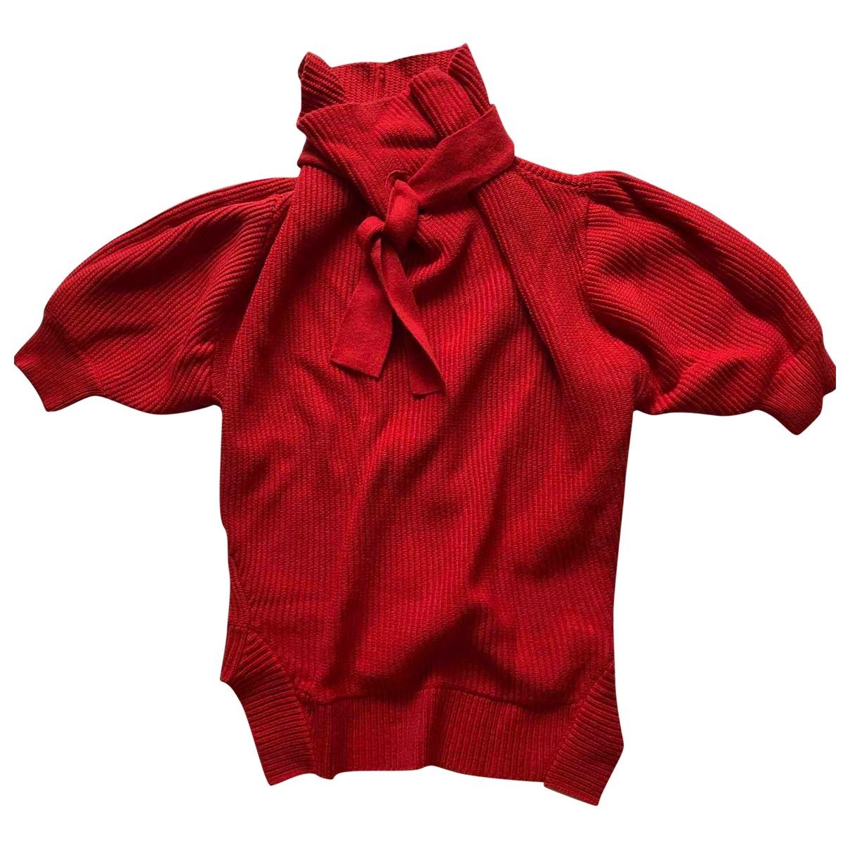 Self Portrait - Pull   pour femme en coton - rouge
