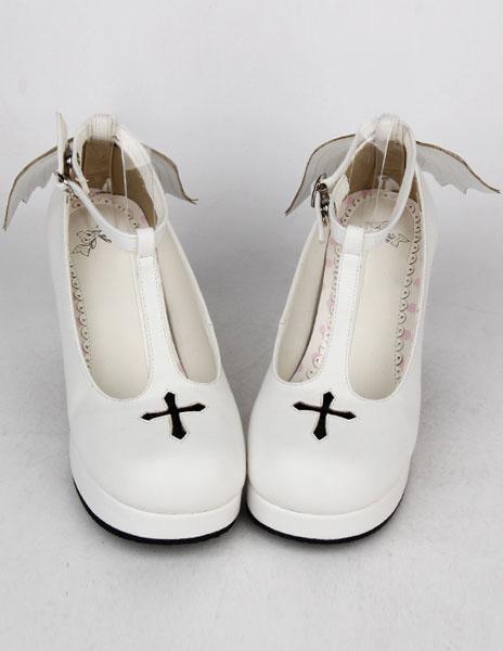 Milanoo PU blanco prisma talon zapatos de Lolita para niñas