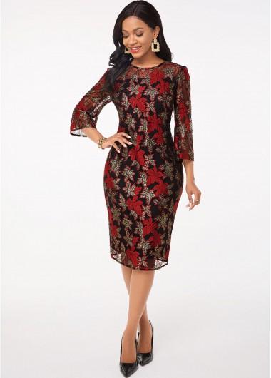 Red Dresses 3/4 Sleeve Leaf Lace Round Neck Dress - L