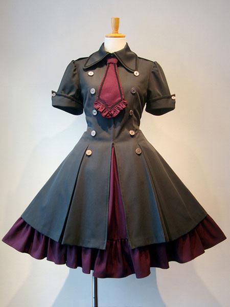 Milanoo Vestido gotico de lolita OP Boton de corbatin con volantes de estilo militar Vestido de una pieza de lolita burdeos