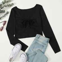 Drawstring Front Crop Top