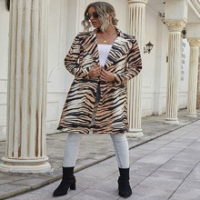 Mantel mit Zebra Streifen und Revers