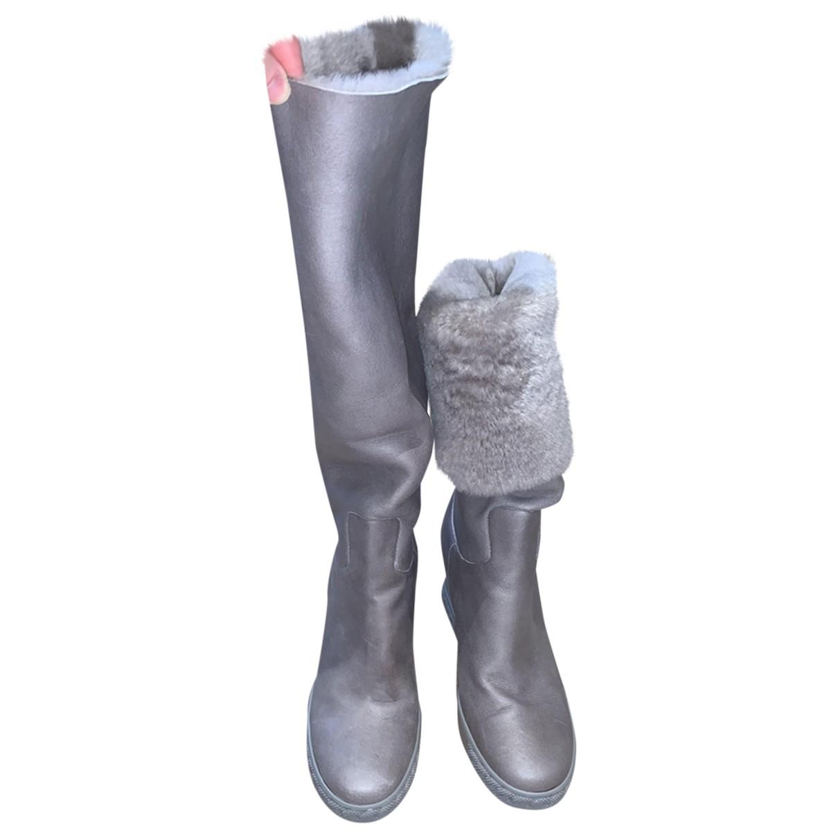 Casadei \N Stiefel in  Grau Leder