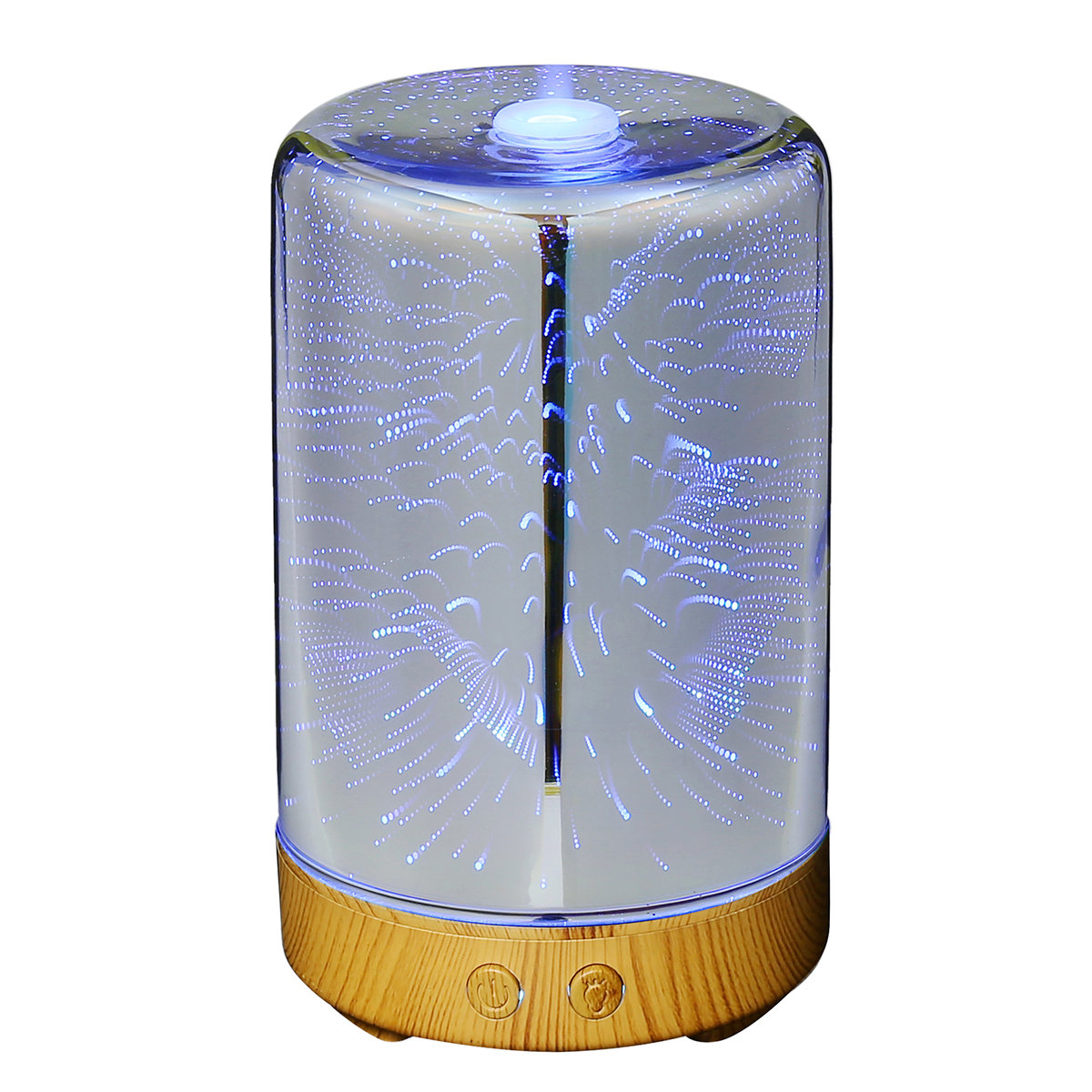 DecBest Fireworks Sky 3D Glass Aromatherapy Diffuser Cool Mist Humidifier Color Changing Night Light