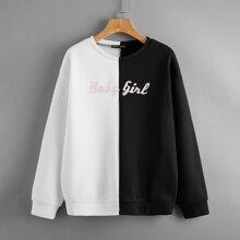 Pullover mit Buchstaben Grafik, Farbblock und sehr tief angesetzter Schulterpartie