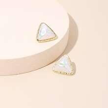 Ohrringe mit dreieckigen Kunstperlen Dekor