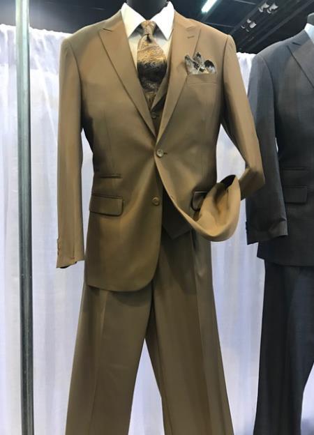 Mens Vittorio St Angelo Brown Peak Lapel 2 Button Suit