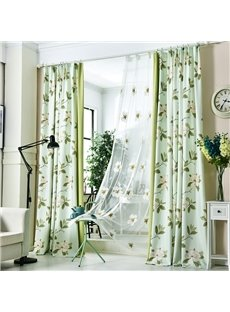 Decoration Green Fresh Style Floral Custom Living Room Sheer Curtain