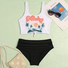 Girls Tropical Knot Hem Bikini Swimsuit