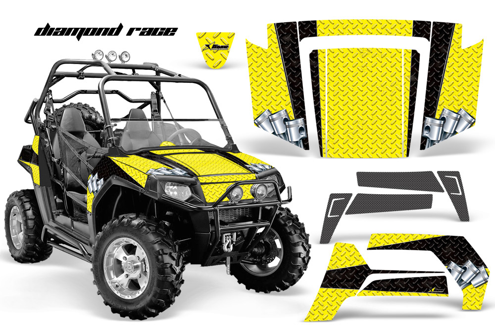 AMR Racing Full Custom UTV Graphics Decal Kit Wrap Diamond Race  Black Polaris RZR 800 06-10