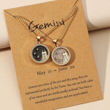 2pcs Couple Zodiac Sign Design Round Charm Necklace