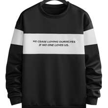Men Slogan Graphic Colorblock Sweatshirt