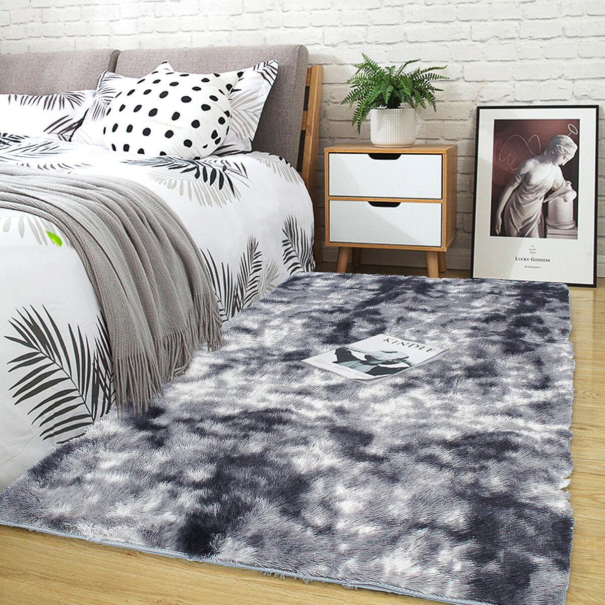 Long Hair Variegated Tie-dye Gradient Carpet Living Room Bedroom Bedside Blanket Coffee Table Cushion Full Carpet Floor