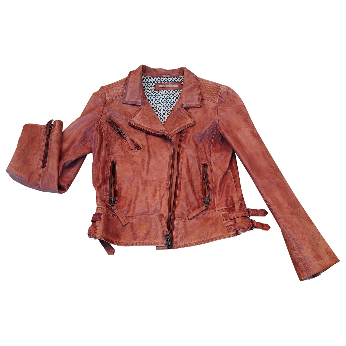 Non Signé / Unsigned \N Pink Leather Leather jacket for Women 40 FR