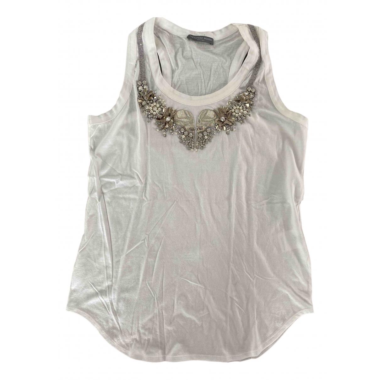 Alexander Mcqueen - Top   pour femme en coton - blanc