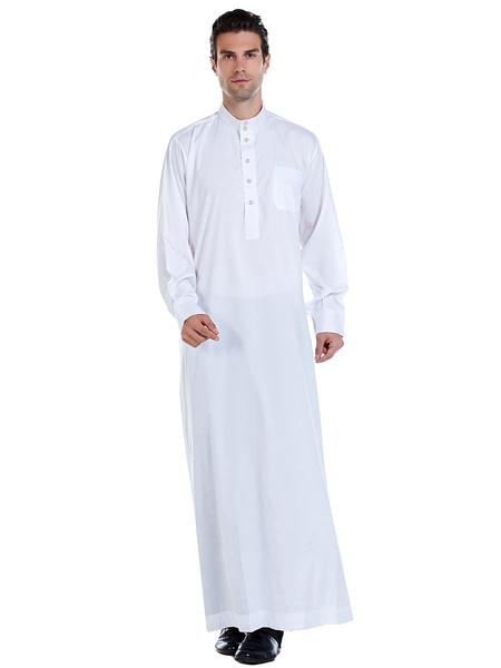 Milanoo Arabian Abaya Robe Stand Collar Long Sleeve Men Clothing