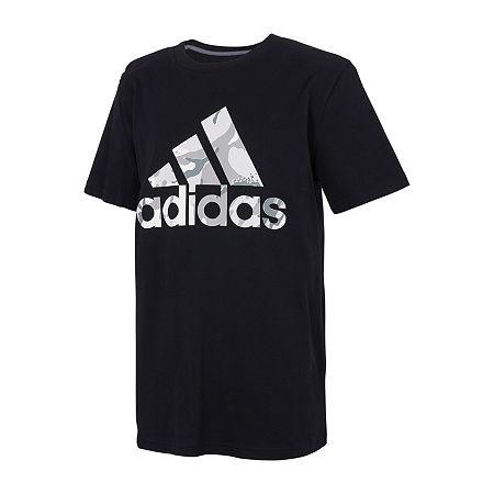 adidas Big Boys Crew Neck Short Sleeve Graphic T-Shirt, Large (14-16) , Black