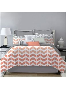 V Shape Simple Geometric Pattern Printing 4-Piece Polyester Bedding Sets/Duvet Cover
