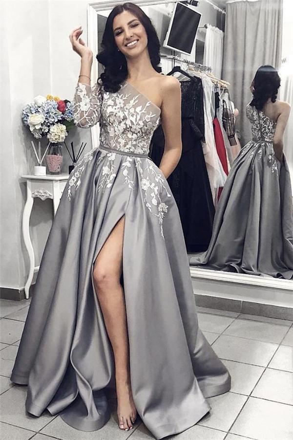 Elegante Abendkleider Lang Mit armel | Abendkleid mit Spitze